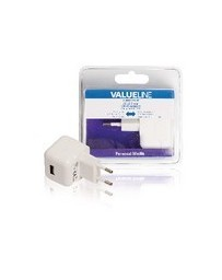 USB-lader USB A female - AC-huisaansluiting wit 2.1A