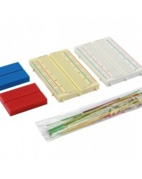 set met mini breadboards en draadbruggen